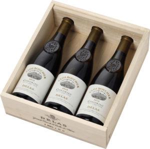 Delas - Coffret cadeaux Caisse Bois - 3 Bouteilles - Clos Boucher millésimé