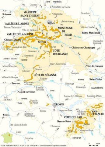 Carte de la Champagne viticole 2000 D.R. Bubbliz