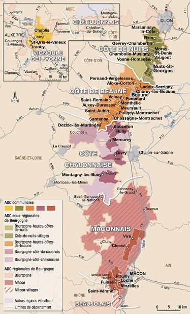 Carte des vignobles de Bourgogne
