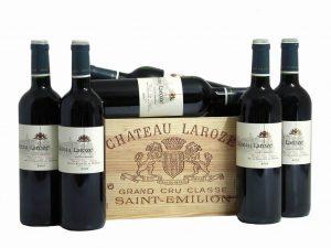 Caisse bois de 6 bouteilles de Château Laroze, vins de Bordeaux