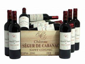 Caisse bois de 12 bouteilles de Château Ségur de Cabanac, Vins de Bordeaux