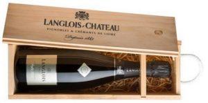 Caisse bois à tirette pour une bouteille de Crémant Langlois-Château