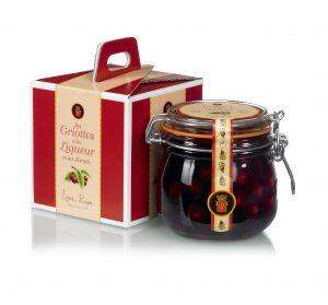 Coffret cadeau d'un bocal de 50 cl de griottes à l'eau de vie de La distillerie La vieille prune