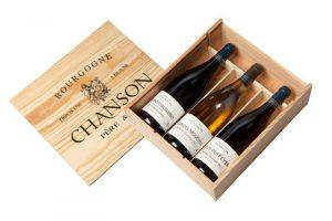 Vins de Bourgogne Domaine Chanson Coffret cadeau caisse bois de trois bouteilles